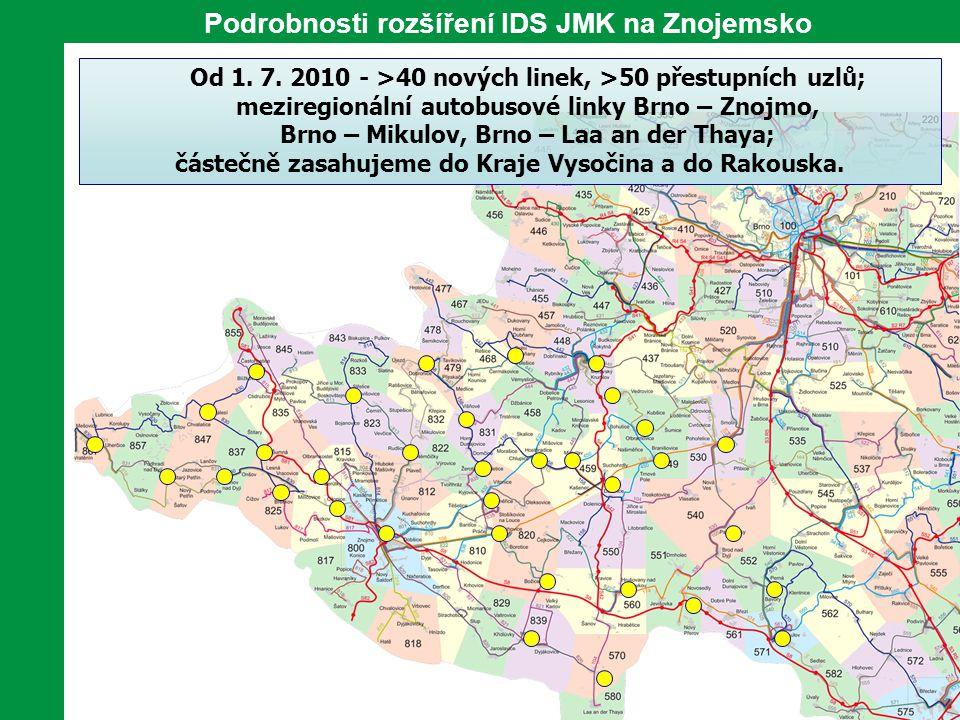 Podrobnosti rozšíření IDS JMK na Znojemsko Od 1. 7. 2010 - >40 nových linek, >50 přestupních uzlů; meziregionální autobusové linky Brno – Znojmo, Brno