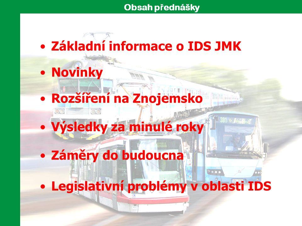 Základní informace o IDS JMK Záměry do budoucna Rozšíření na Znojemsko Obsah p ř ednášky Legislativní problémy v oblasti IDS Novinky Výsledky za minul