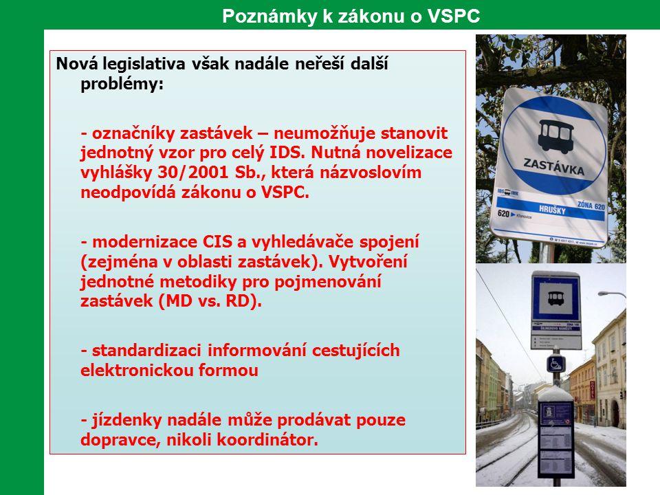 Poznámky k zákonu o VSPC Nová legislativa však nadále neřeší další problémy: - označníky zastávek – neumožňuje stanovit jednotný vzor pro celý IDS. Nu