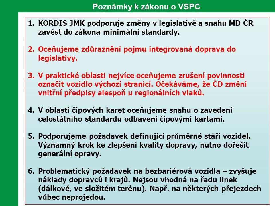 Poznámky k zákonu o VSPC 1.KORDIS JMK podporuje změny v legislativě a snahu MD ČR zavést do zákona minimální standardy. 2.Oceňujeme zdůraznění pojmu i