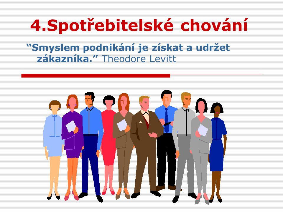 4.Spotřebitelské chování Smyslem podnikání je získat a udržet zákazníka. Theodore Levitt