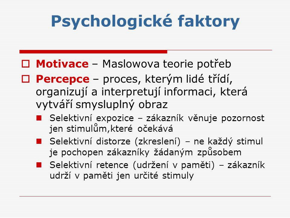 Psychologické faktory  Motivace – Maslowova teorie potřeb  Percepce – proces, kterým lidé třídí, organizují a interpretují informaci, která vytváří smysluplný obraz Selektivní expozice – zákazník věnuje pozornost jen stimulům,které očekává Selektivní distorze (zkreslení) – ne každý stimul je pochopen zákazníky žádaným způsobem Selektivní retence (udržení v paměti) – zákazník udrží v paměti jen určité stimuly