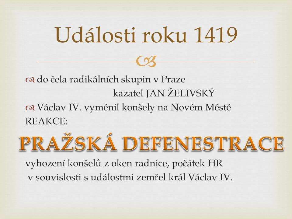   do čela radikálních skupin v Praze kazatel JAN ŽELIVSKÝ  Václav IV. vyměnil konšely na Novém Městě REAKCE: vyhození konšelů z oken radnice, počát