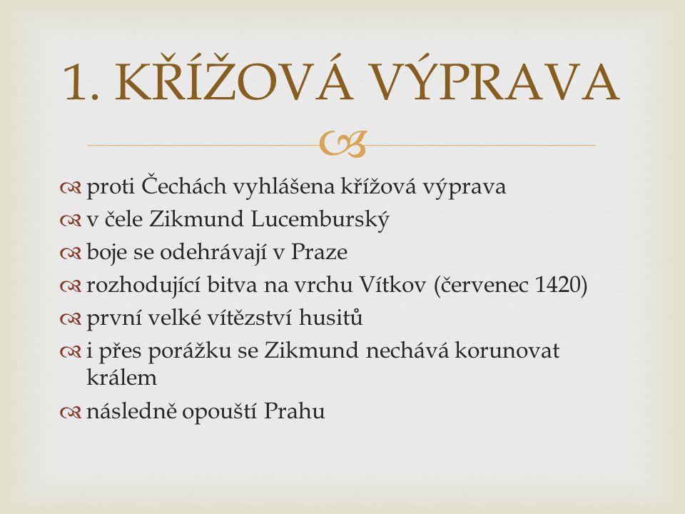   proti Čechách vyhlášena křížová výprava  v čele Zikmund Lucemburský  boje se odehrávají v Praze  rozhodující bitva na vrchu Vítkov (červenec 14
