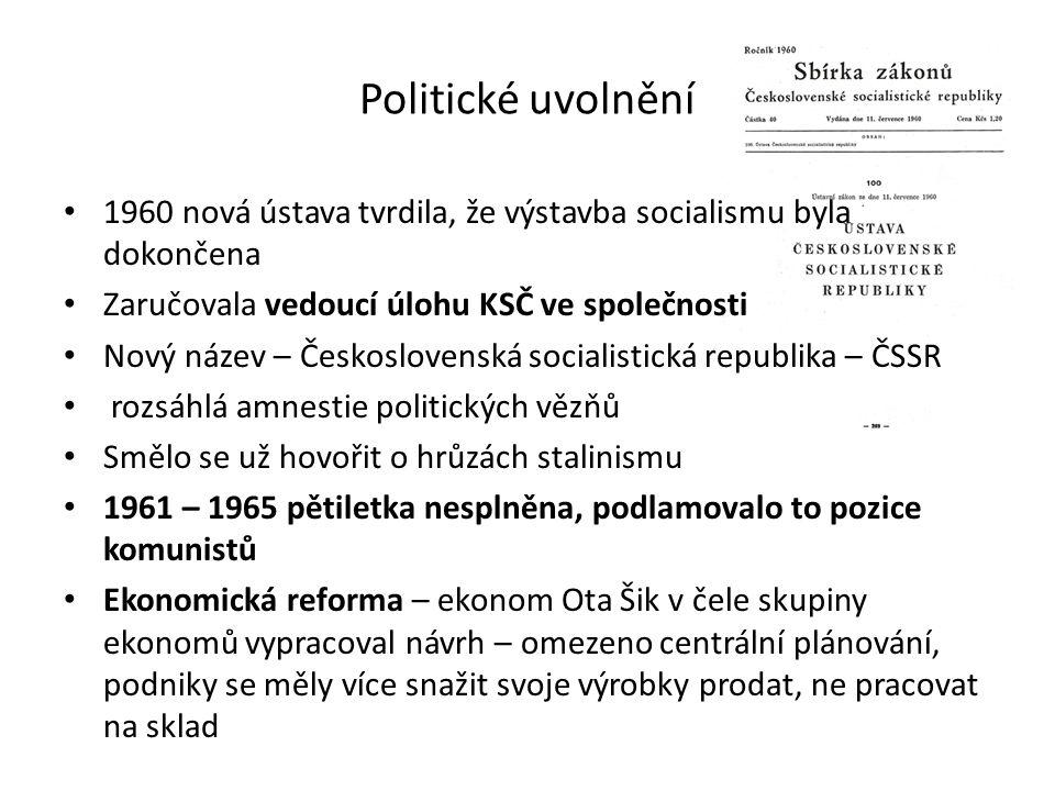 Politické uvolnění 1960 nová ústava tvrdila, že výstavba socialismu byla dokončena Zaručovala vedoucí úlohu KSČ ve společnosti Nový název – Českoslove