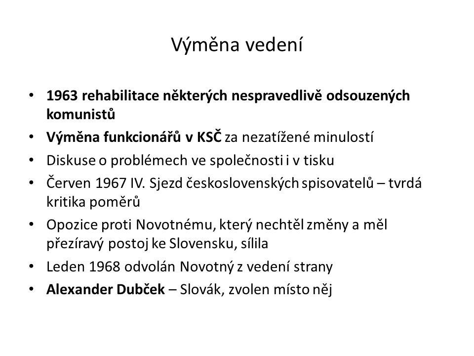 Výměna vedení 1963 rehabilitace některých nespravedlivě odsouzených komunistů Výměna funkcionářů v KSČ za nezatížené minulostí Diskuse o problémech ve
