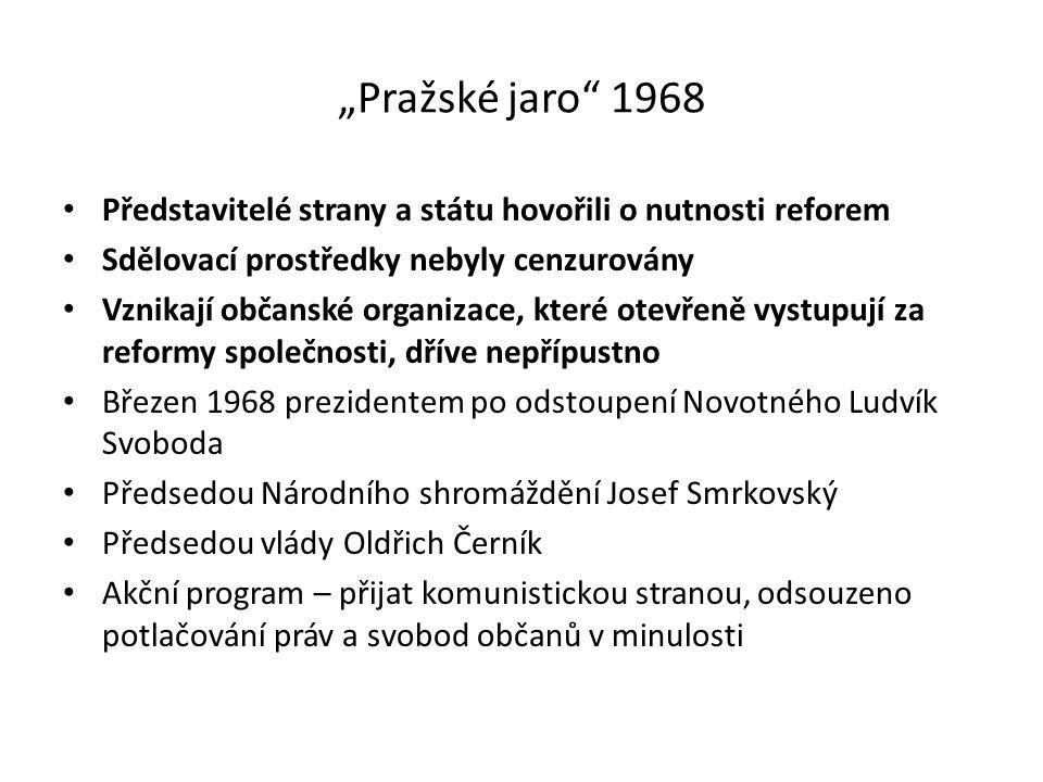 """""""Pražské jaro"""" 1968 Představitelé strany a státu hovořili o nutnosti reforem Sdělovací prostředky nebyly cenzurovány Vznikají občanské organizace, kte"""
