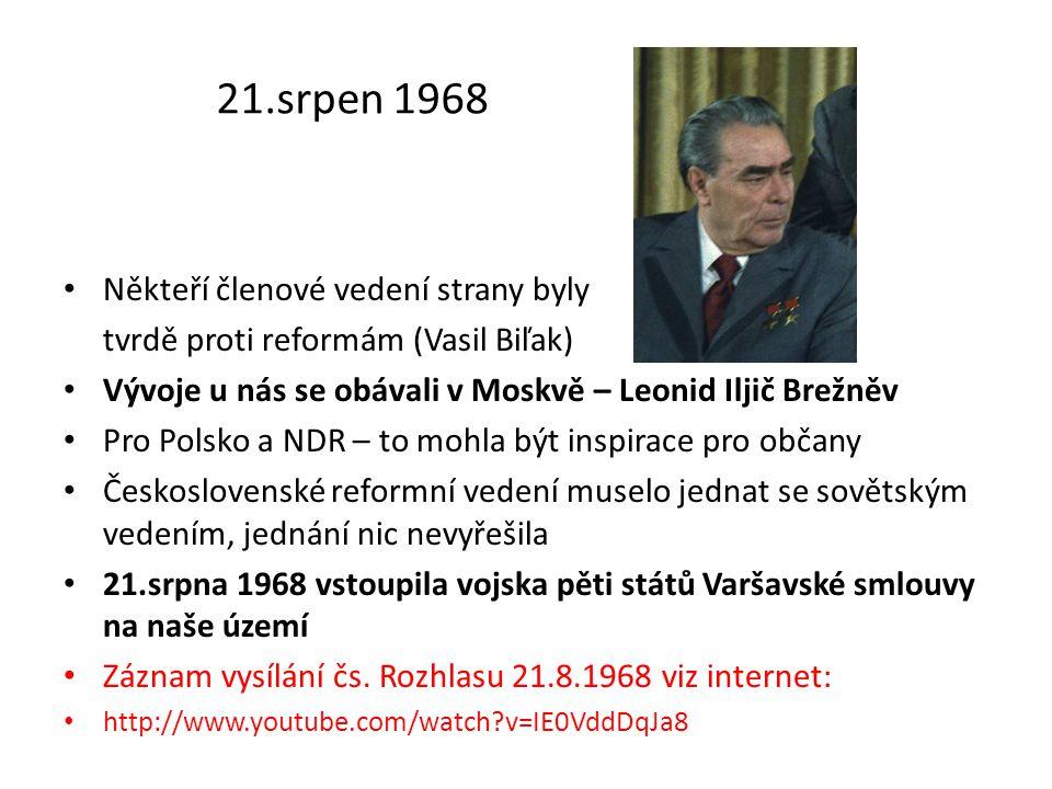 21.srpen 1968 Někteří členové vedení strany byly tvrdě proti reformám (Vasil Biľak) Vývoje u nás se obávali v Moskvě – Leonid Iljič Brežněv Pro Polsko