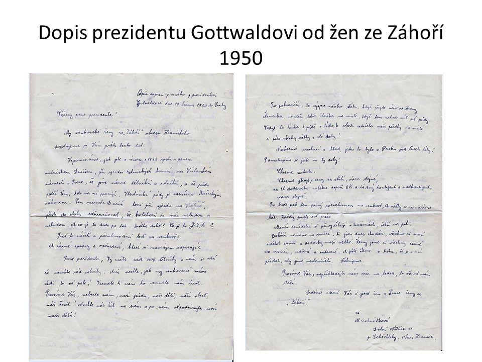 Dopis prezidentu Gottwaldovi od žen ze Záhoří 1950