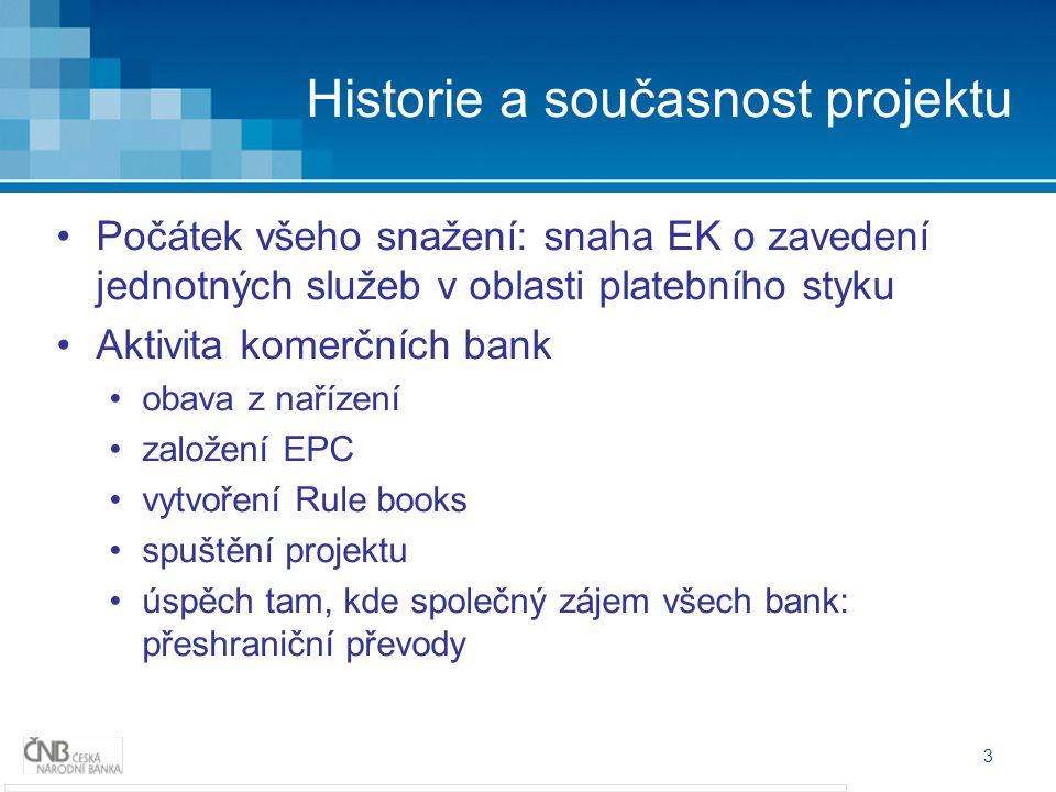 3 Historie a současnost projektu Počátek všeho snažení: snaha EK o zavedení jednotných služeb v oblasti platebního styku Aktivita komerčních bank obav