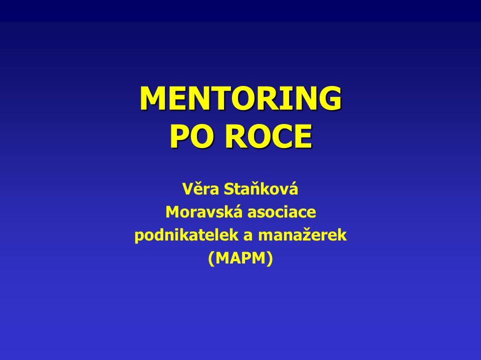 MENTORING PO ROCE Věra Staňková Moravská asociace podnikatelek a manažerek (MAPM)