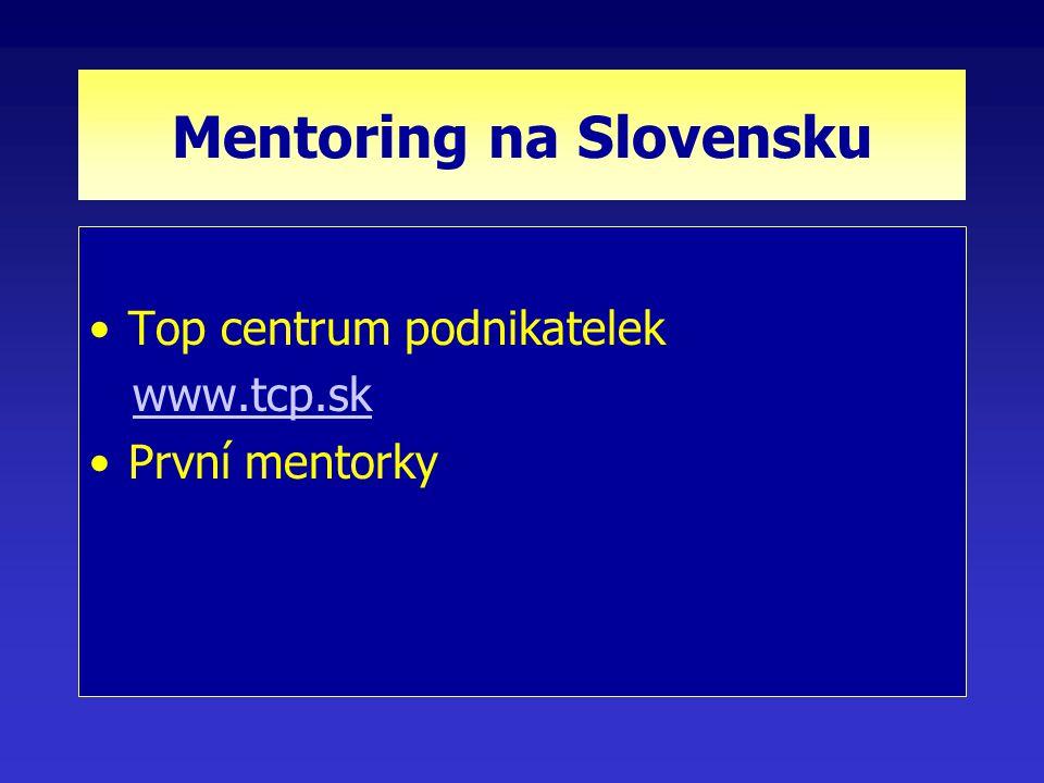 Mentoring na Slovensku Top centrum podnikatelek www.tcp.sk První mentorky