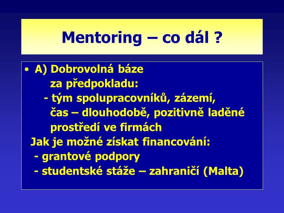 Mentoring – co dál ? A) Dobrovolná báze za předpokladu: - tým spolupracovníků, zázemí, čas – dlouhodobě, pozitivně laděné prostředí ve firmách Jak je
