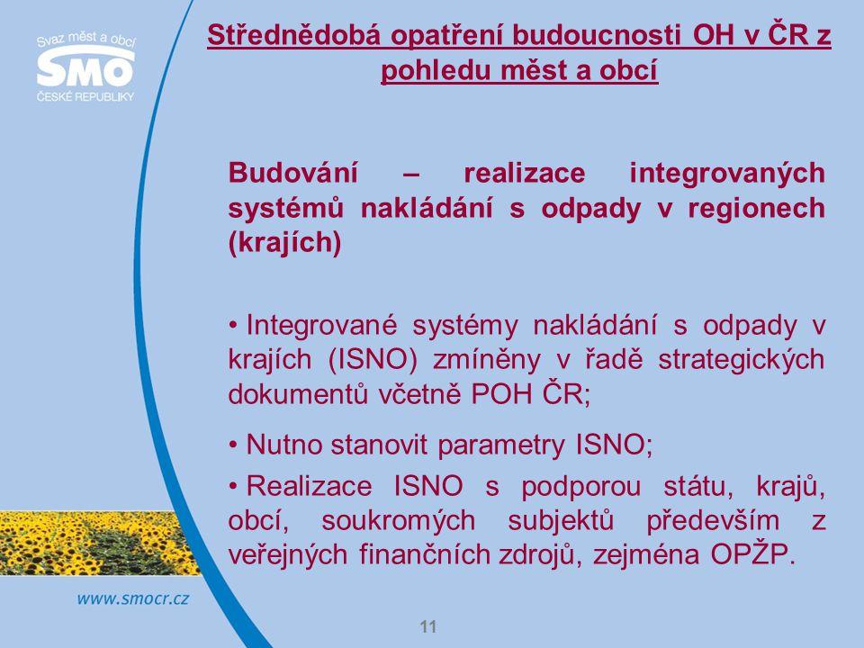 11 Střednědobá opatření budoucnosti OH v ČR z pohledu měst a obcí Budování – realizace integrovaných systémů nakládání s odpady v regionech (krajích) Integrované systémy nakládání s odpady v krajích (ISNO) zmíněny v řadě strategických dokumentů včetně POH ČR; Nutno stanovit parametry ISNO; Realizace ISNO s podporou státu, krajů, obcí, soukromých subjektů především z veřejných finančních zdrojů, zejména OPŽP.