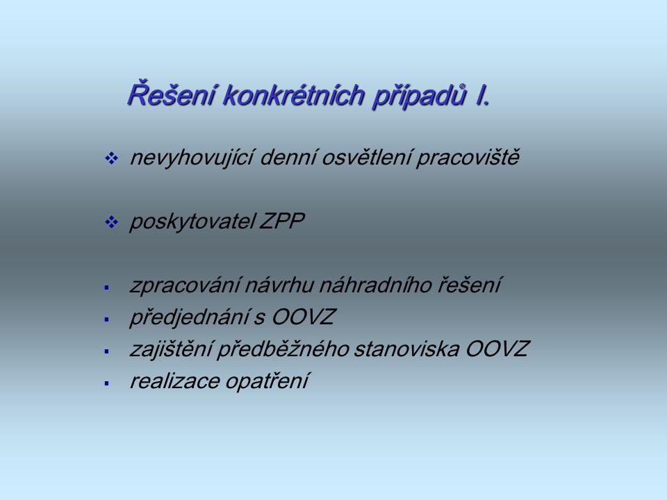 Řešení konkrétních případů I.  nevyhovující denní osvětlení pracoviště  poskytovatel ZPP  zpracování návrhu náhradního řešení  předjednání s OOVZ