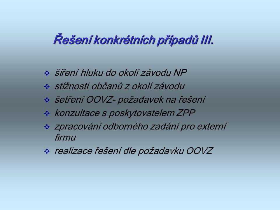 Řešení konkrétních případů III.  šíření hluku do okolí závodu NP  stížnosti občanů z okolí závodu  šetření OOVZ- požadavek na řešení  konzultace s