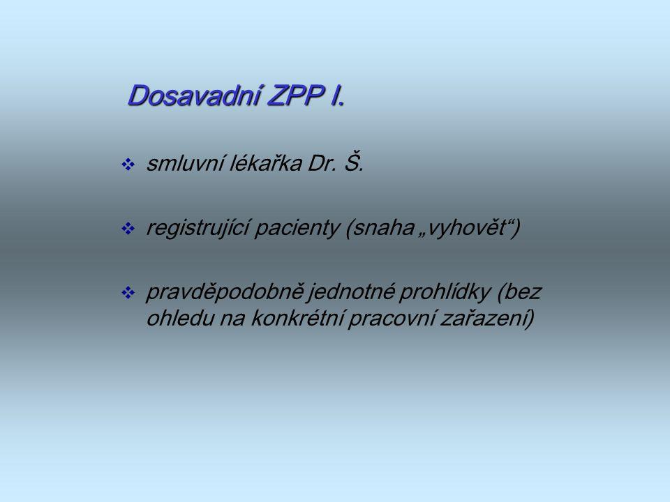 """Dosavadní ZPP I.  smluvní lékařka Dr. Š.  registrující pacienty (snaha """"vyhovět"""")  pravděpodobně jednotné prohlídky (bez ohledu na konkrétní pracov"""
