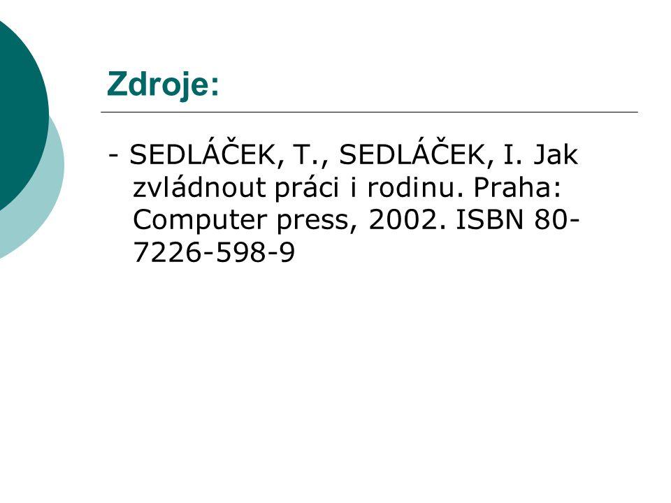 Zdroje: - SEDLÁČEK, T., SEDLÁČEK, I. Jak zvládnout práci i rodinu. Praha: Computer press, 2002. ISBN 80- 7226-598-9