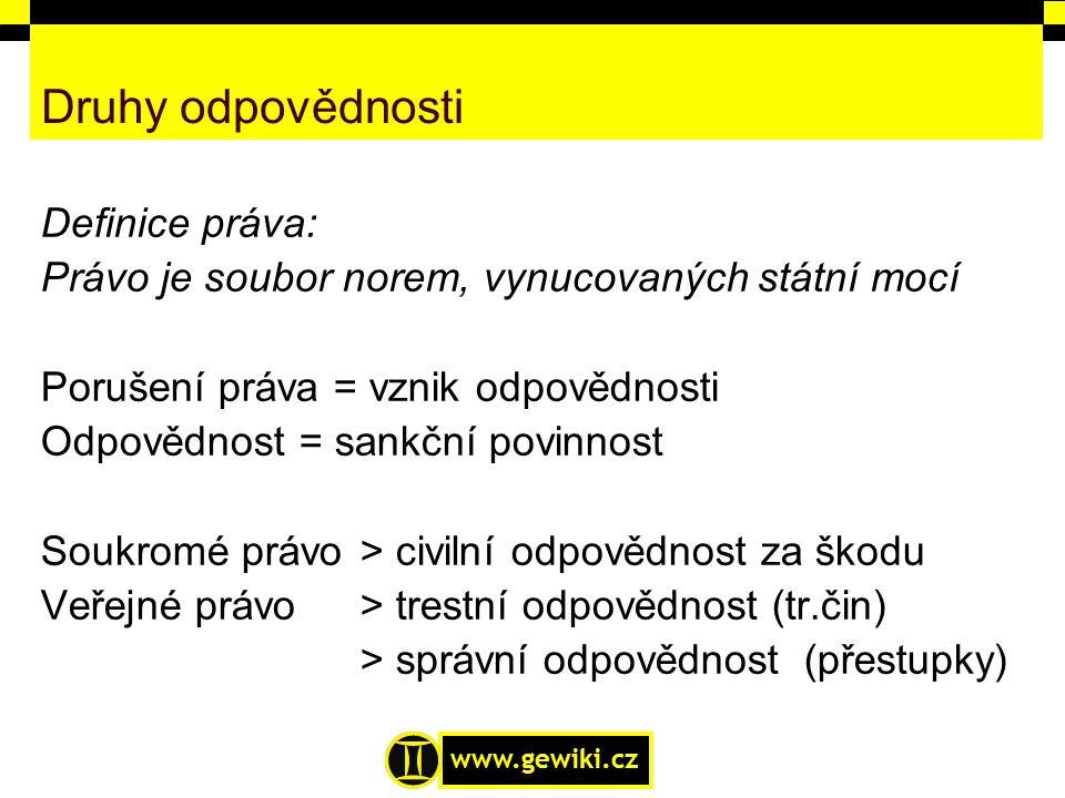www.gewiki.cz Druhy odpovědnosti Definice práva: Právo je soubor norem, vynucovaných státní mocí Porušení práva = vznik odpovědnosti Odpovědnost = san