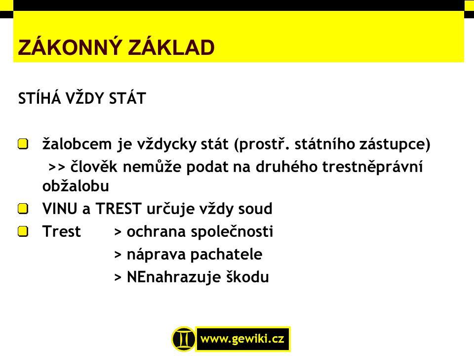www.gewiki.cz ZÁKONNÝ ZÁKLAD STÍHÁ VŽDY STÁT žalobcem je vždycky stát (prostř. státního zástupce) >> člověk nemůže podat na druhého trestněprávní obža
