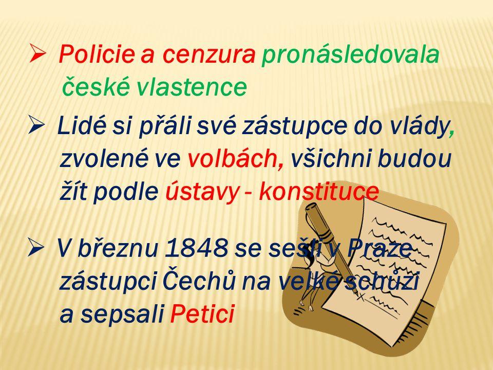  Lidé si přáli své zástupce do vlády, zvolené ve volbách, všichni budou žít podle ústavy - konstituce  Policie a cenzura pronásledovala české vlaste