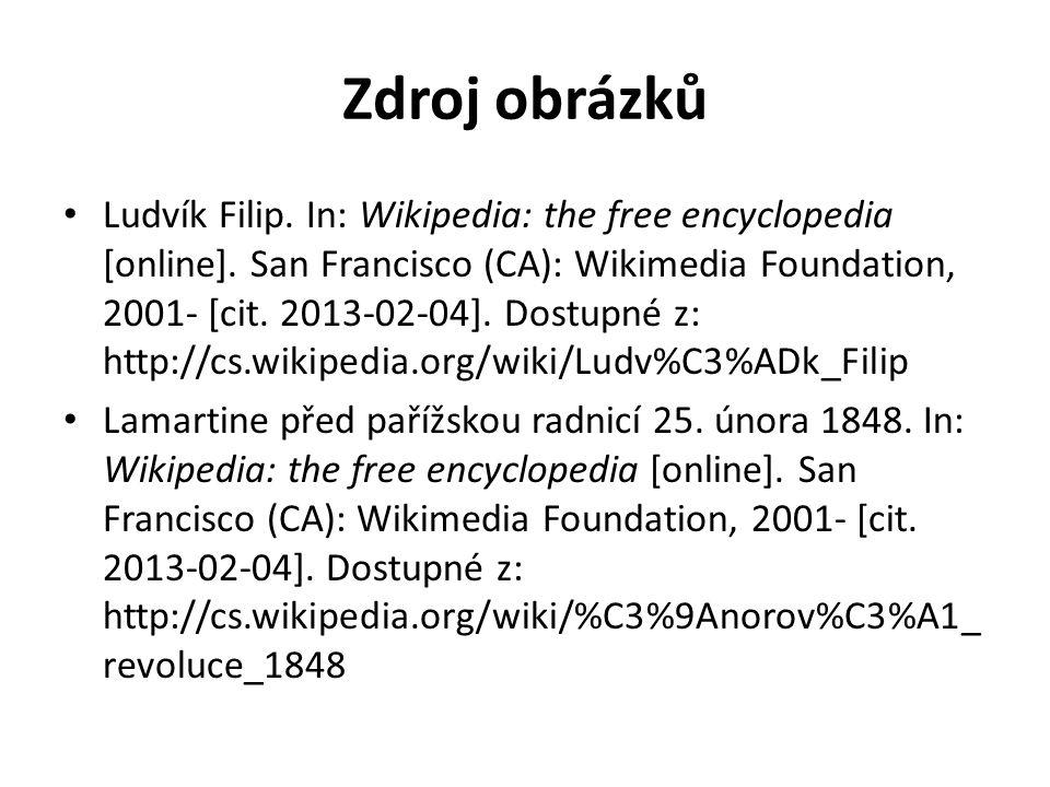 Zdroj obrázků Ludvík Filip. In: Wikipedia: the free encyclopedia [online].