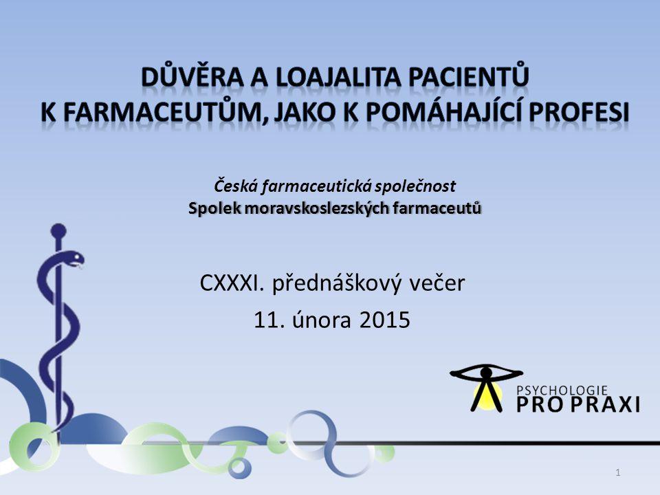 Spolek moravskoslezských farmaceutů Česká farmaceutická společnost Spolek moravskoslezských farmaceutů CXXXI. přednáškový večer 11. února 2015 1