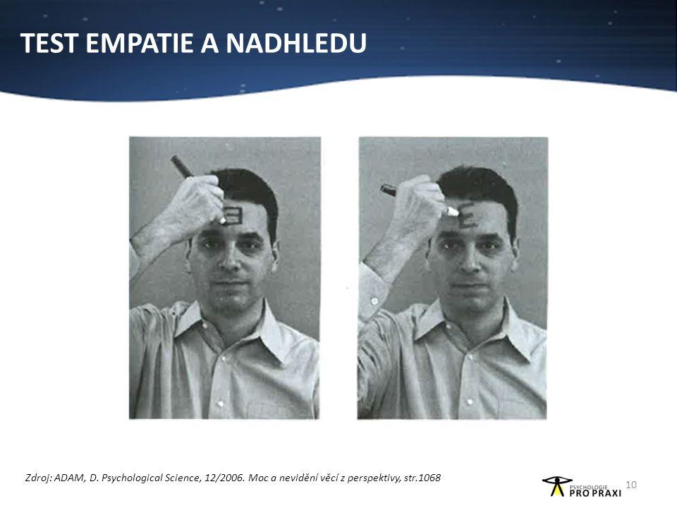 TEST EMPATIE A NADHLEDU 10 Zdroj: ADAM, D. Psychological Science, 12/2006. Moc a nevidění věcí z perspektivy, str.1068