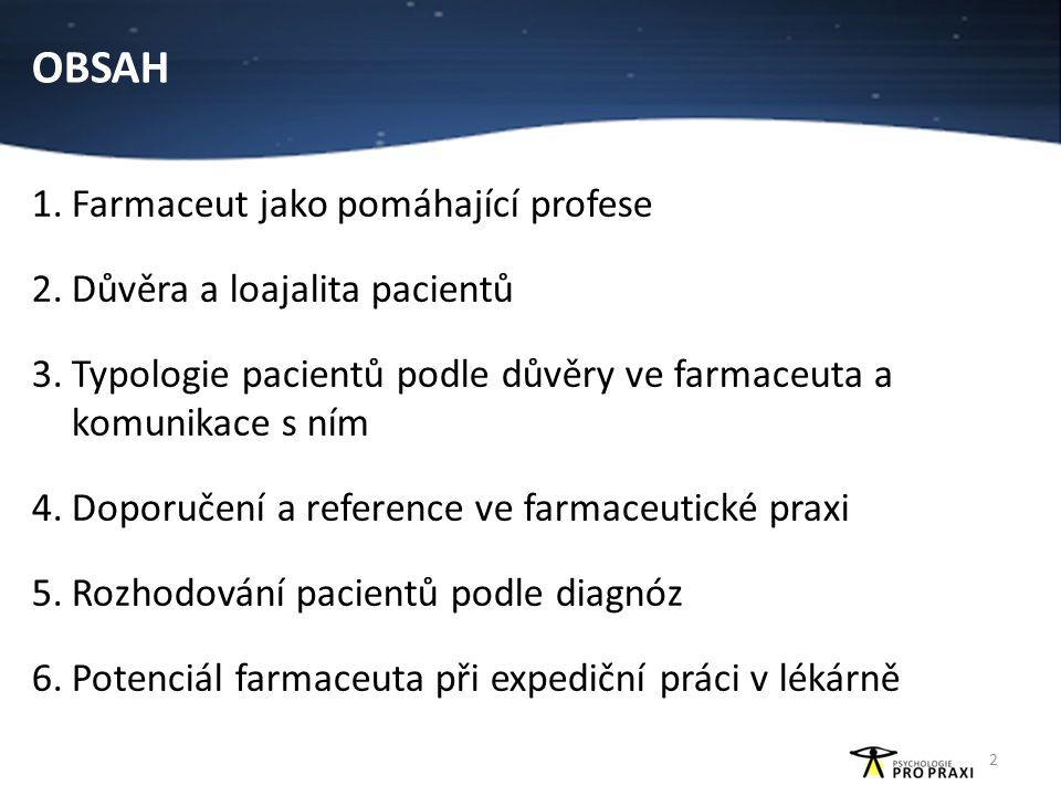 OBSAH 1.Farmaceut jako pomáhající profese 2.Důvěra a loajalita pacientů 3.Typologie pacientů podle důvěry ve farmaceuta a komunikace s ním 4.Doporučen