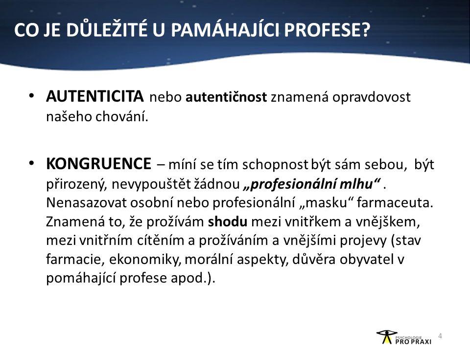 TYPY ČINNOSTÍ U POMÁHAJÍCÍ PROFESE 5 4 typy pomoci 3) péče o pacienta (nemá pacient informace, nezná souvislosti léčby) akceptování (pacient je takový, jaký je), ale nechá si poradit 3) Nelsen, C.