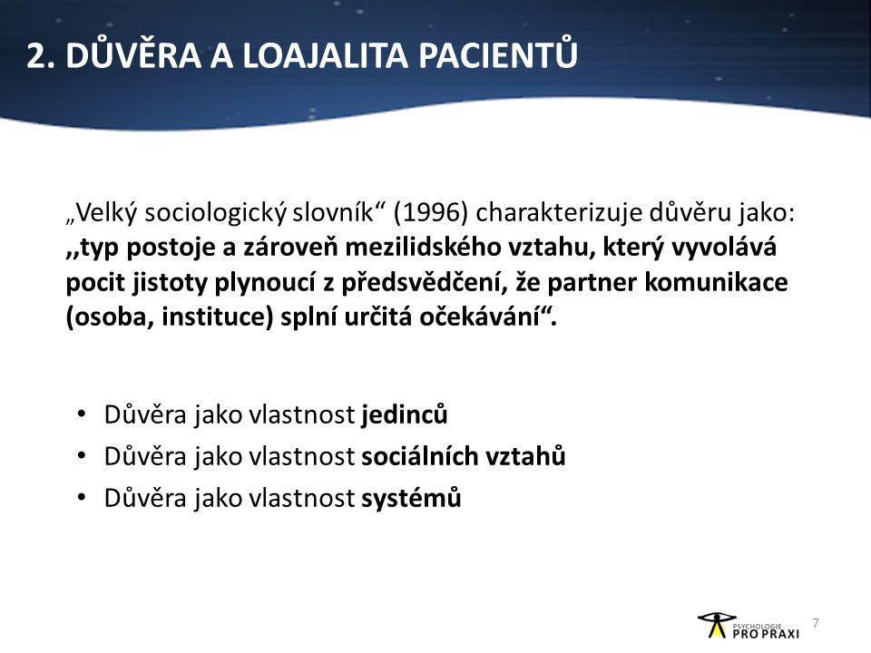 """2. DŮVĚRA A LOAJALITA PACIENTŮ """" Velký sociologický slovník"""" (1996) charakterizuje důvěru jako:,,typ postoje a zároveň mezilidského vztahu, který vyvo"""