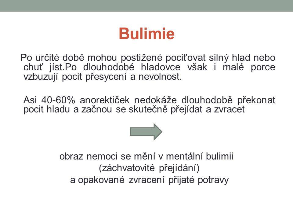 Bulimie Po určité době mohou postižené pociťovat silný hlad nebo chuť jíst.Po dlouhodobé hladovce však i malé porce vzbuzují pocit přesycení a nevolno