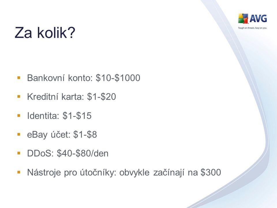 Za kolik?  Bankovní konto: $10-$1000  Kreditní karta: $1-$20  Identita: $1-$15  eBay účet: $1-$8  DDoS: $40-$80/den  Nástroje pro útočníky: obvy