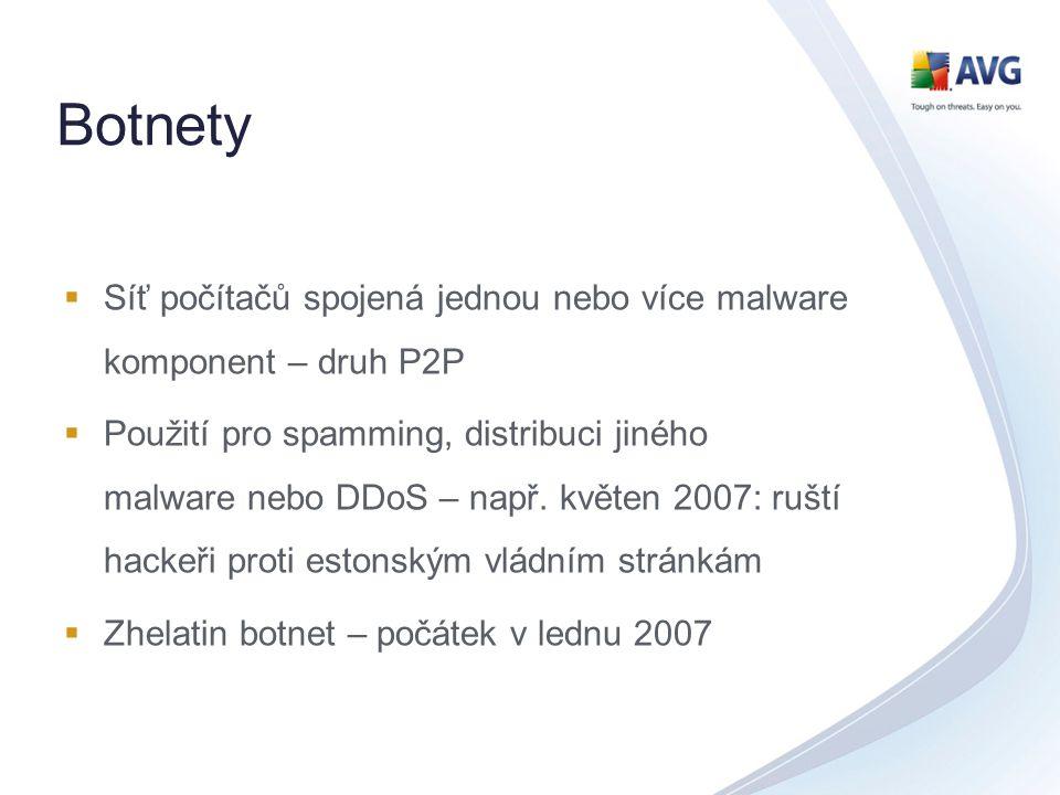 Botnety  Síť počítačů spojená jednou nebo více malware komponent – druh P2P  Použití pro spamming, distribuci jiného malware nebo DDoS – např. květe