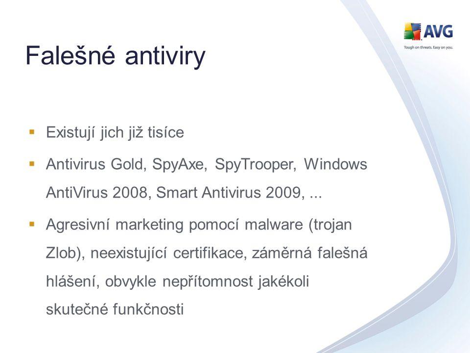 Falešné antiviry  Existují jich již tisíce  Antivirus Gold, SpyAxe, SpyTrooper, Windows AntiVirus 2008, Smart Antivirus 2009,...  Agresivní marketi