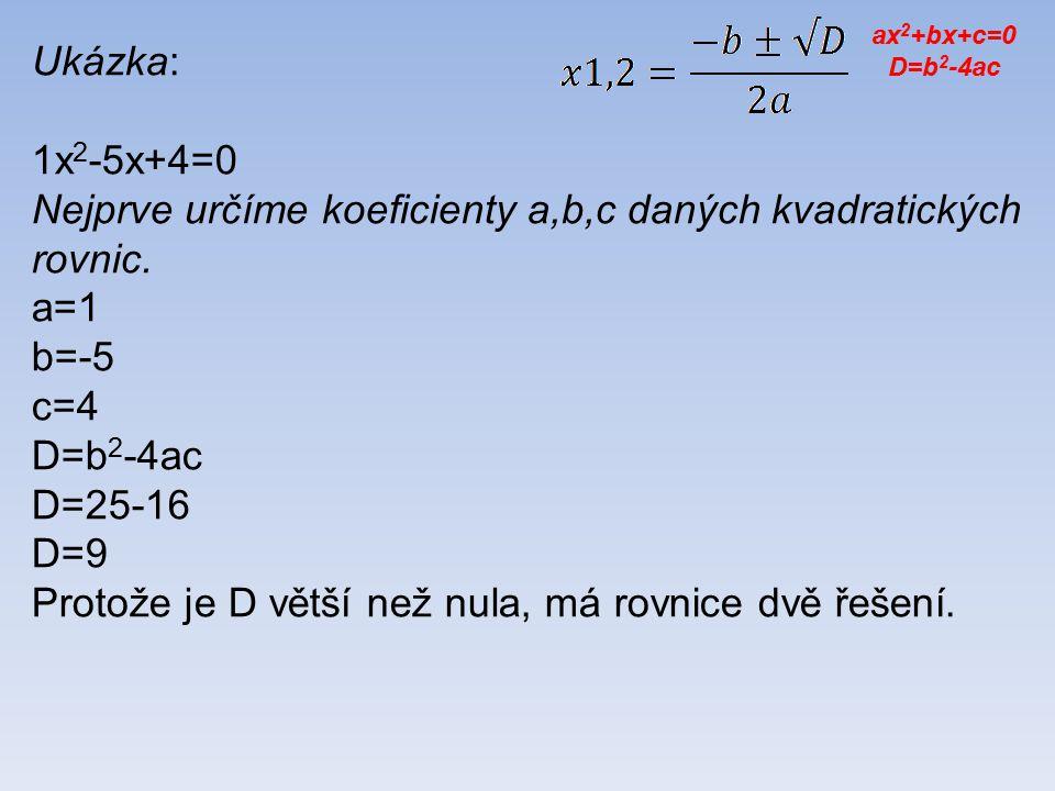 Ukázka: 1x 2 -5x+4=0 Nejprve určíme koeficienty a,b,c daných kvadratických rovnic.