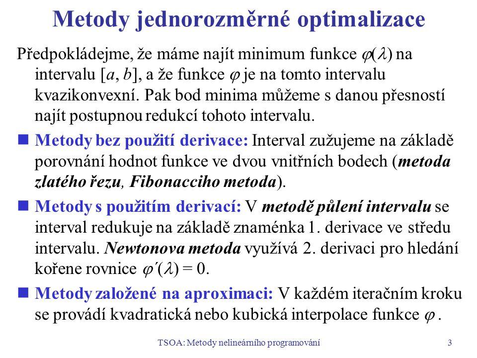 TSOA: Metody nelineárního programování4 Vícerozměrné metody hledání volných extrémů Obvykle se postupuje podle tohoto schématu (předpokládáme minimalizační problém): 1.Nalezneme výchozí řešení x 1 a položíme k = 1.
