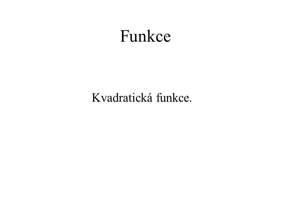 Funkce Kvadratická funkce.
