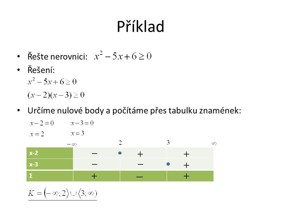 Příklad Řešte nerovnici: Řešení: Určíme nulové body a počítáme přes tabulku znamének: x-2 x-3 Σ