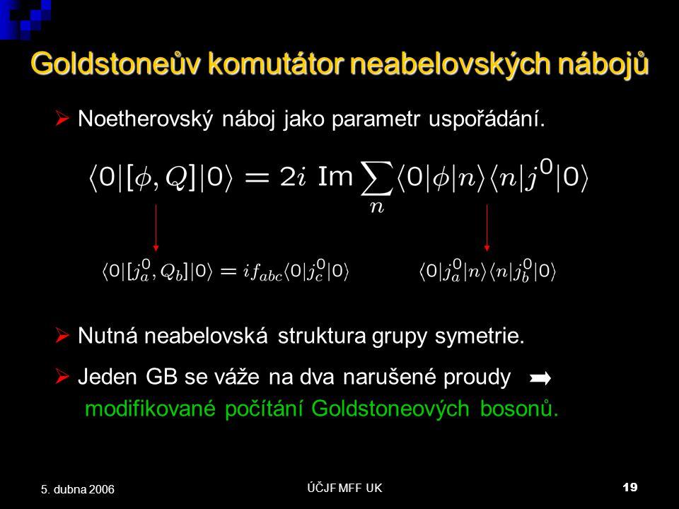 ÚČJF MFF UK19 5. dubna 2006 Goldstoneův komutátor neabelovských nábojů  Noetherovský náboj jako parametr uspořádání.  Nutná neabelovská struktura gr