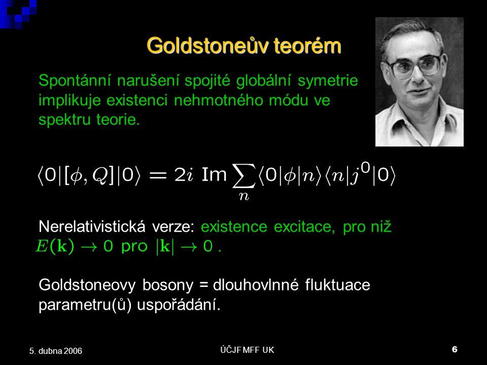 ÚČJF MFF UK6 5. dubna 2006 Goldstoneův teorém Spontánní narušení spojité globální symetrie implikuje existenci nehmotného módu ve spektru teorie. Nere