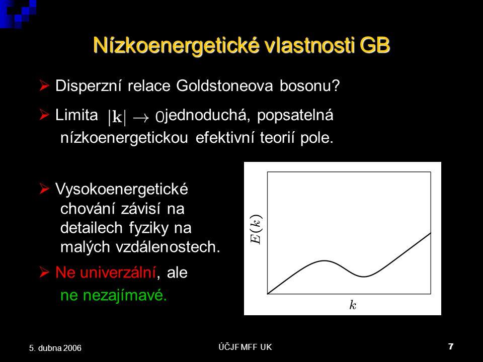 ÚČJF MFF UK7 5. dubna 2006 Nízkoenergetické vlastnosti GB  Disperzní relace Goldstoneova bosonu.