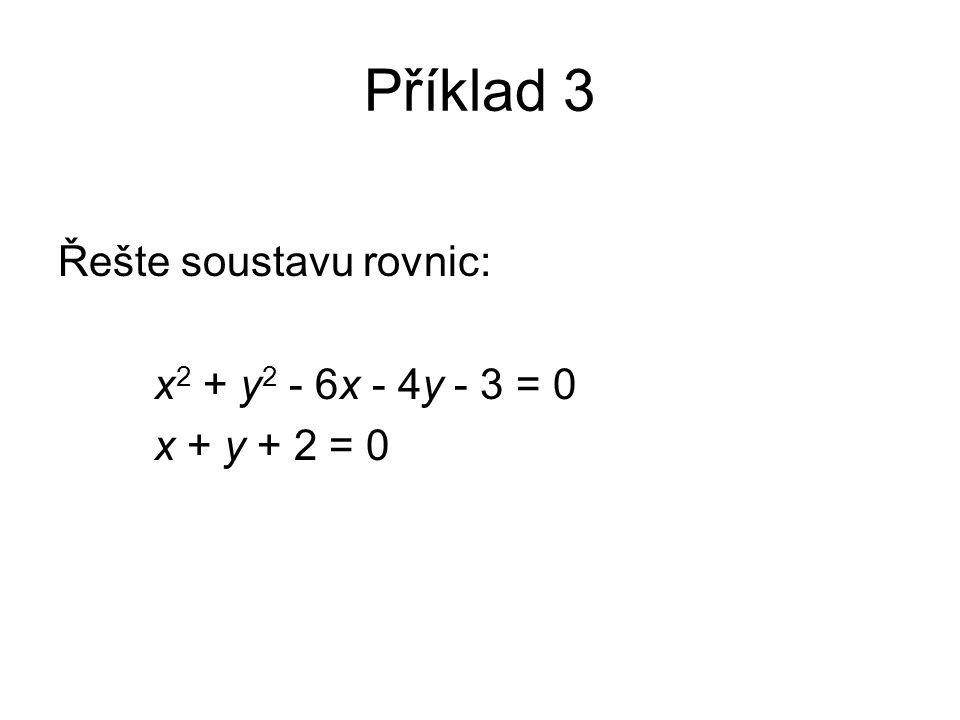 Příklad 3 Řešte soustavu rovnic: x 2 + y 2 - 6x - 4y - 3 = 0 x + y + 2 = 0