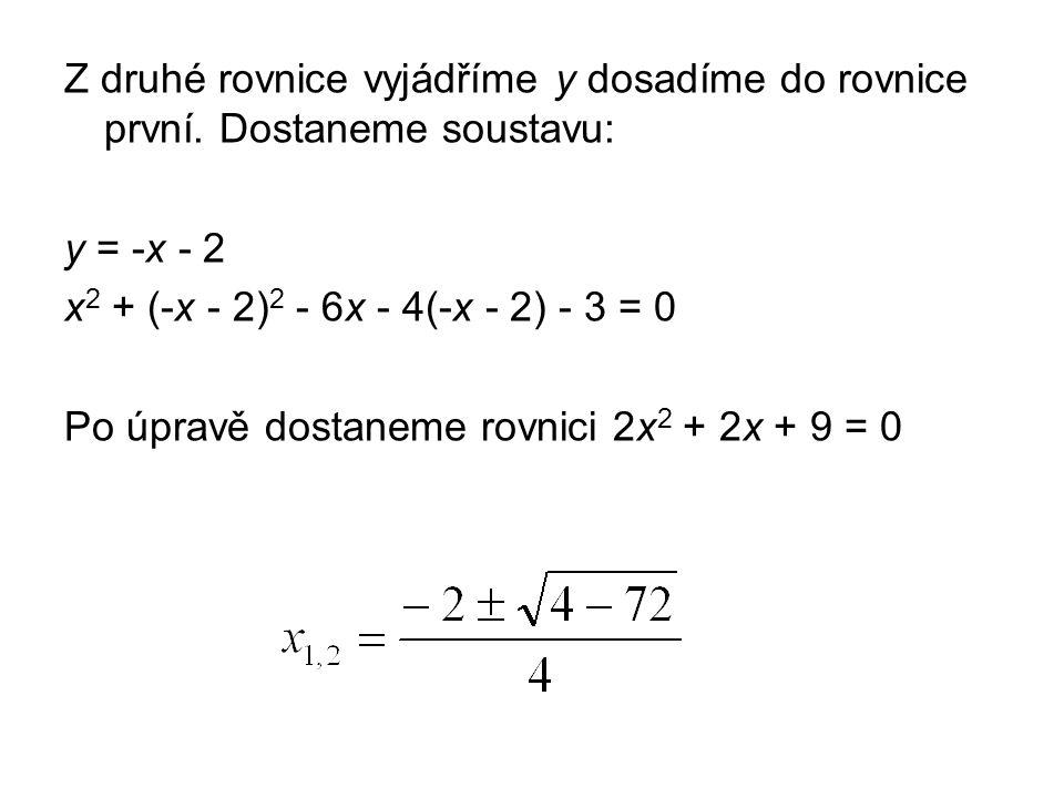 Z druhé rovnice vyjádříme y dosadíme do rovnice první.