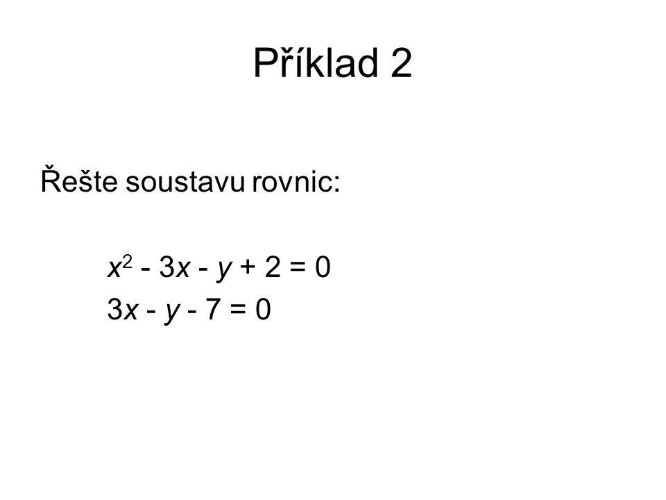 Příklad 2 Řešte soustavu rovnic: x 2 - 3x - y + 2 = 0 3x - y - 7 = 0