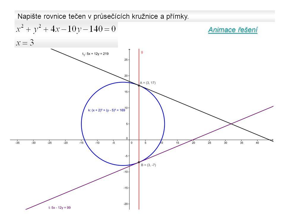 Napište rovnice tečen v průsečících kružnice a přímky. Animace řešení Animace řešení