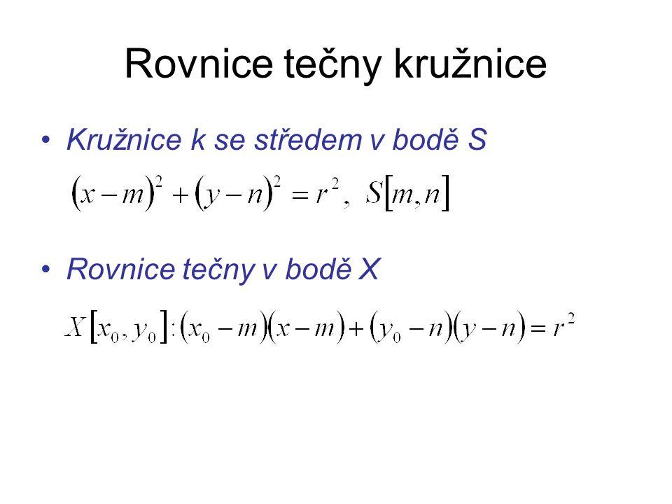 Rovnice tečny kružnice Kružnice k se středem v bodě S Rovnice tečny v bodě X