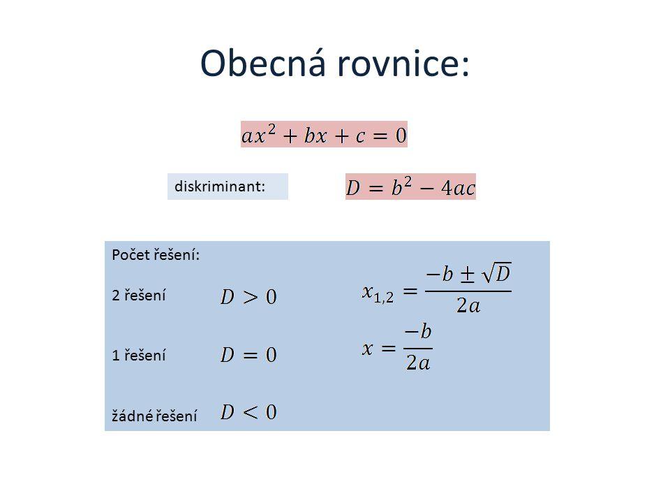 Obecná rovnice: diskriminant: Počet řešení: 2 řešení 1 řešení žádné řešení