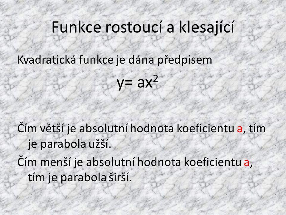 Funkce rostoucí a klesající Kvadratická funkce je dána předpisem y= ax 2 Čím větší je absolutní hodnota koeficientu a, tím je parabola užší. Čím menší