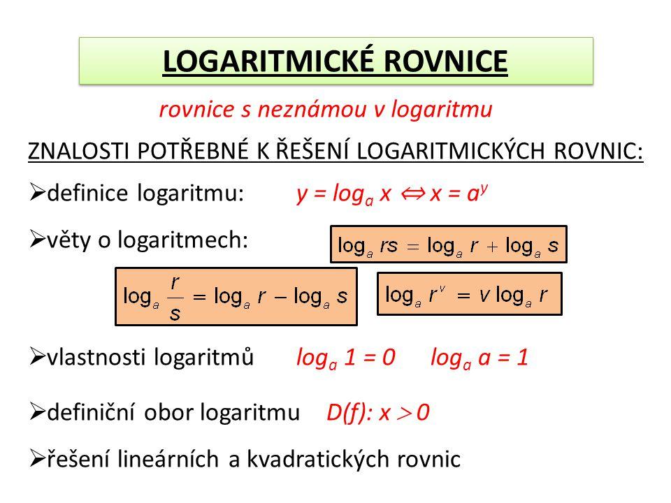 ZNALOSTI POTŘEBNÉ K ŘEŠENÍ LOGARITMICKÝCH ROVNIC:  definice logaritmu: y = log a x ⇔ x = a y  věty o logaritmech:  vlastnosti logaritmů log a 1 = 0 log a a = 1  definiční obor logaritmu D(f): x  0  řešení lineárních a kvadratických rovnic LOGARITMICKÉ ROVNICE rovnice s neznámou v logaritmu
